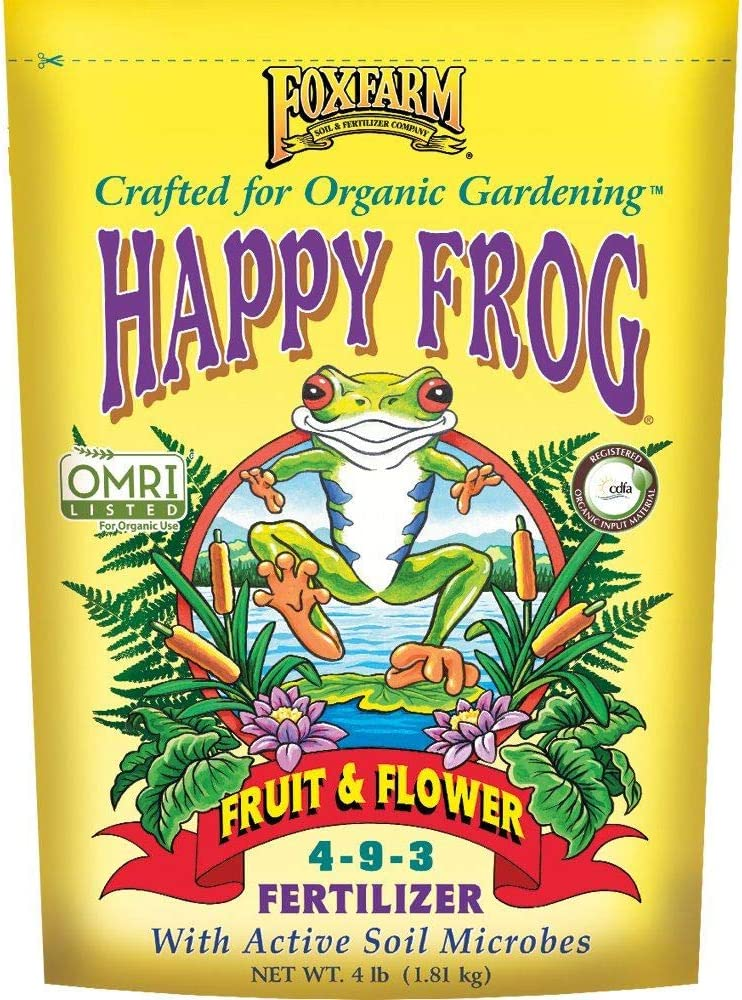 FoxFarm FX14650 Happy Frog Organic Fruit and Flower Fertilizer with Phosphorus and Nitrogen for Vibrant Blooms and Improved Root Health, 4 Pound Bag