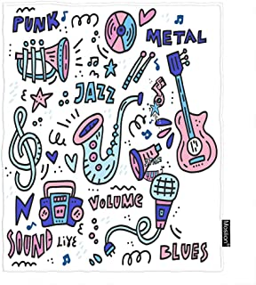 Moslion Music Throw Blanket Musical Instrument Guitar Jazz Note Stars Doodle Polka Dot Hearts Blanket Home Decorative Flannel Warm Travel Blankets 5060 Inch for Couch Bed