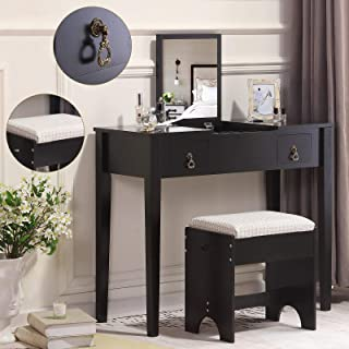 Unihome Vanity Table with Flip Top Mirror Dressing Table with Stool Makeup Table with 2 Drawers and 3 Removable Organizers