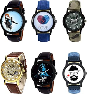 Nikola Mahadev,Love,Army,Open and Beard Style Analogue Blue,White,Green,Gold and Black Color Dial Boys Watch - B22-B11-B21-B45-B23-B12 (Pack of 6)