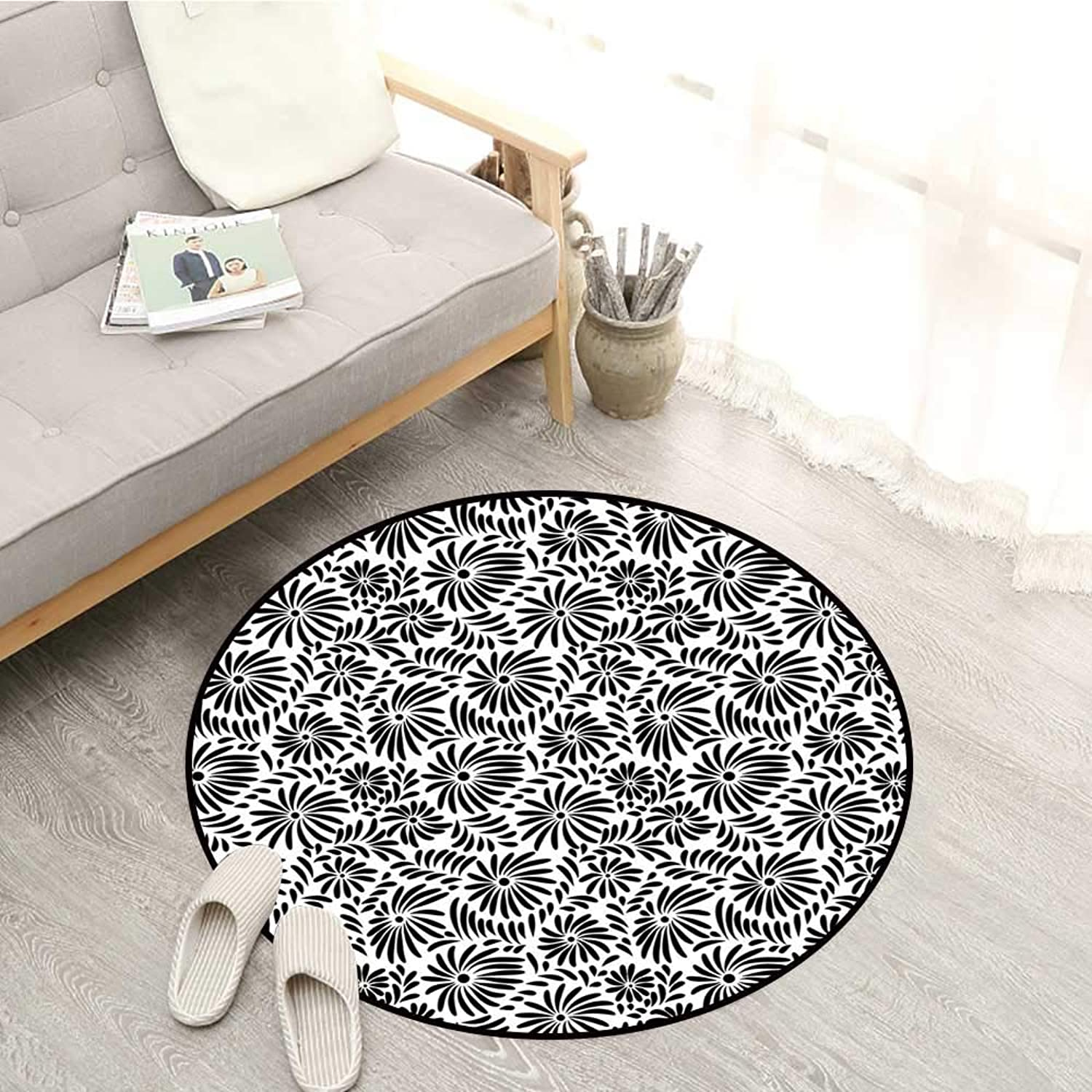 Black and White Carpets Simple Floral Motifs Tropical Island Vegetation in Monochrome Doodle Style Sofa Coffee Table Mat 3'3  Black White