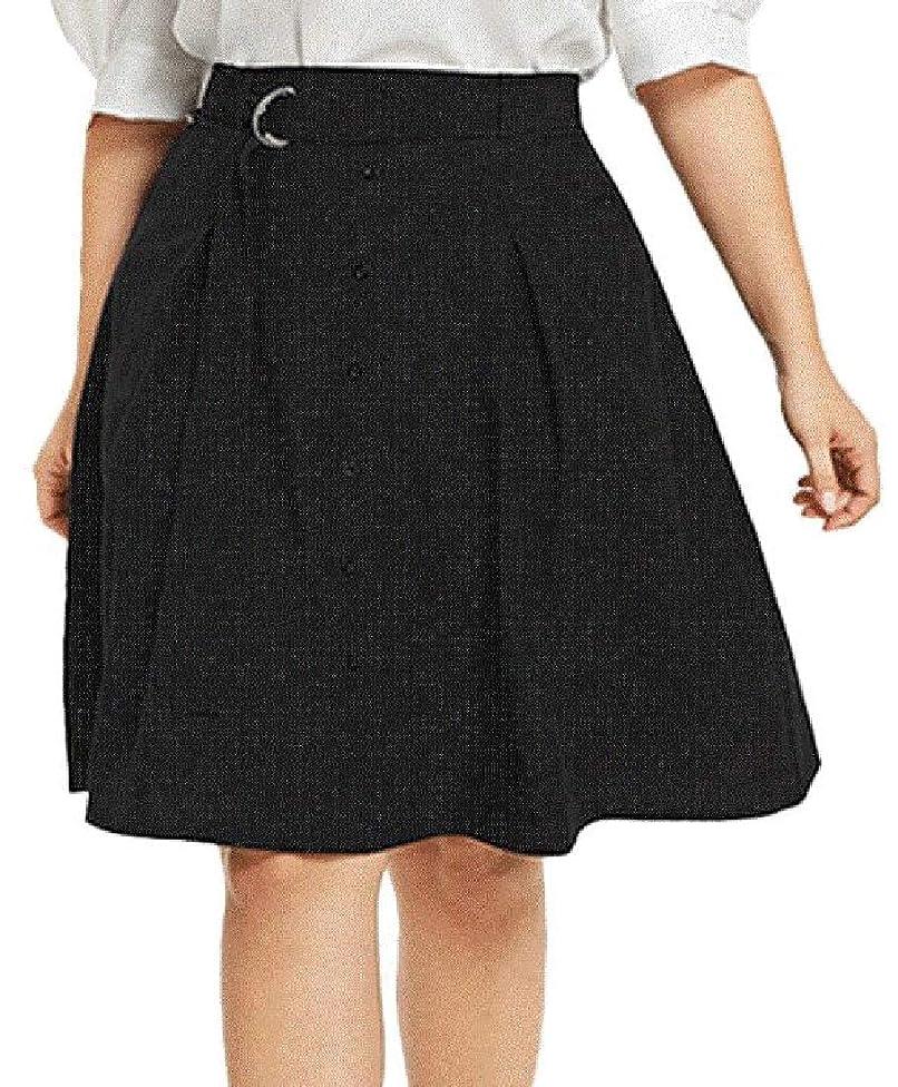 プロフィール顎ジョリーKeaac レディースボタン スプリング オーバーサイズ ソリッド カラーペンシル ミッドスカート