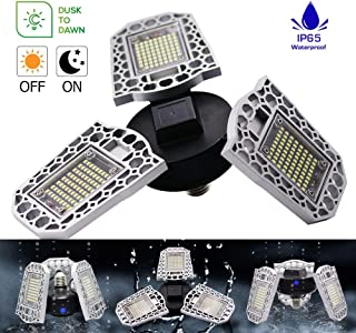 LED Garage Light,SPIGHTDEX 60W 7200Lm Workshop Lights for Garage Deformable Lighting,Waterproof IP 65 Automatic On/Off, Indoor/Outdoor Yard Porch Patio Garage Garden Dusk-to-Dawn