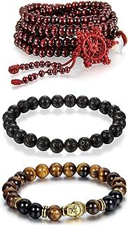 Aroncent Mala perline di legno pietra lavica agata perline buddista braccialetto 3pz 6/8mm 7/9/106,7cm