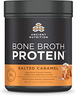 Ancient Nutrition Bone Broth Protein - Salted Caramel, Beef Bone Broth Collagen Peptides Made from Pasture ...