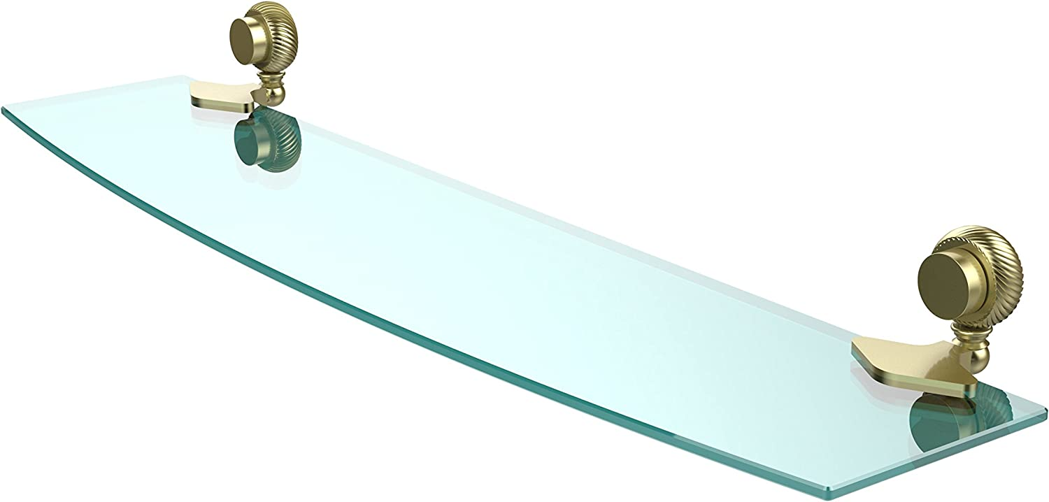 Allied Brass 433T 24-SBR Venus Collection 24 Inch Glass Shelf with Twist Accents 24-Inch by 5-Inch Satin Brass