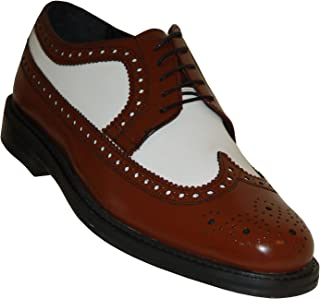 Brentano Brown and White Wingtips 1920s-1930s Vintage Style All Leather Two Tone Brogue Spectator Shoes
