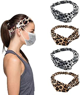 Headband with Buttons - Leopard Hair Band Elastic Face Cover Holder Non Slip Ear Protection for Nurses Women Workout Yoga ...