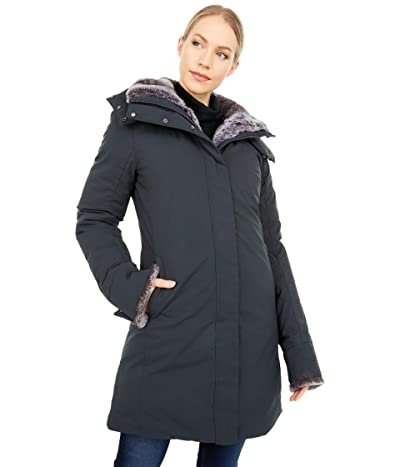 Save the Duck Faux Fur Lined Parka with Removable Hood (Shadow Black) Women