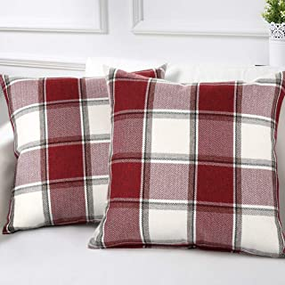 cinsey Decorative Throw Pillow Covers Pack of 2- Red and White Cotton Linen Buffalo Check Plaid Square Cushion Covers Holiday Farmhouse Decor for Couch Bed Sofa Car (red White Check Plaid, 20x20inch)