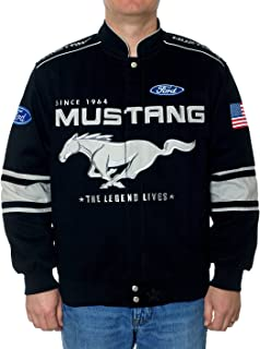 JH Design Ford Mustang Jacket - Twill Collage Racing Style Jacket Black