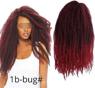18 inch Ombre Marley Braids Hair Crochet Afro Kinky Kanekalon Synthetic Braiding Hair Crochet Braids Hair Extensions Bulk,M1b/red,18inches,6Pcs/Lot
