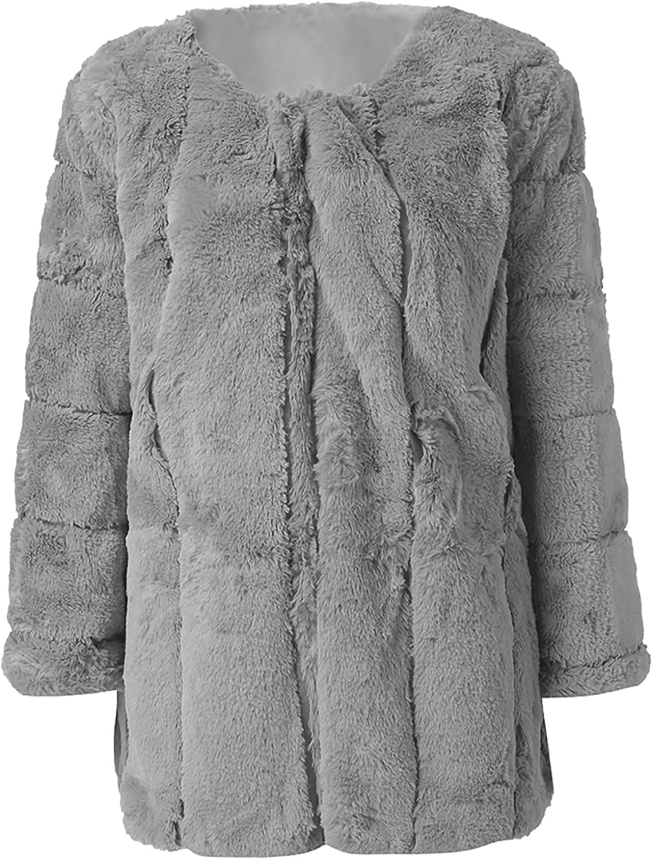 Women's Plus Size Fuzzy Fleece Open Front Cardigan Long Sleeve Jacket Coat Faux Fur Warm Winter Outwear