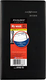 """at-A-Glance Academic Weekly Pocket Planner, July 2017 - June 2018, 3-5/8"""" x 6-1/16"""", DayMinder, Color Will Vary (AY4810)"""