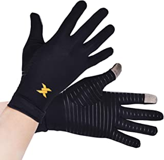 Thx4 Copper Infused Compression Gloves, Touch Screen Full Finger Arthritis Glove for Writing, Texting, Carpal Tunnel– Non-Slip Silicone Gel for Women/Men