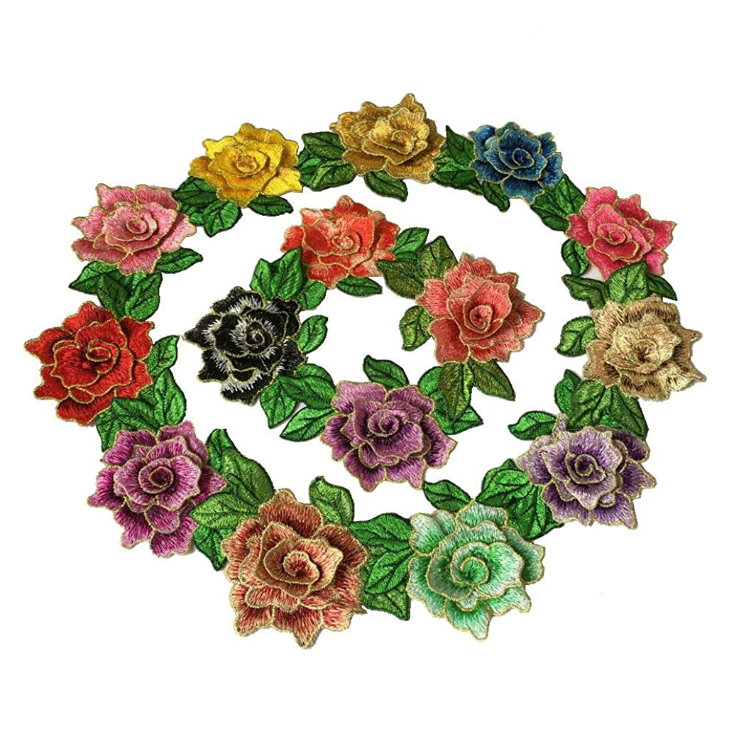 Rose Embroidery Needlework On Patch Flower Sew On Patch Stickers for Clothing Flagship Fabric Applique Supplies (Color A)