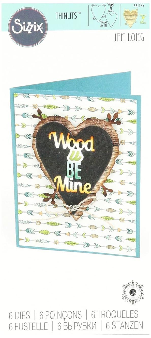 Sizzix 661135 Wood U be Mine Phrase Thinlits Die Set by Jen Long (6/Pack)