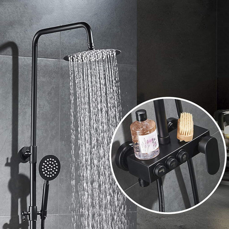 Duschset, Badezimmer im europischen Stil Schwarzes Druckbeaufschlagtes heies kaltes Mischventil Groer Duschkopf Duschkopf