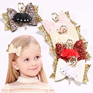 Ballet Girl Hair Clips Glitter Eco Rhinestone Barrettes Hairpins Hair Accessories for Kids Girls (pink)