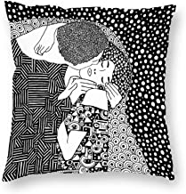 Decorative Pillow Covers Gustav Klimt - The Kiss Black Throw Pillow Case Cushion Cover Home Decor,Square 18 X 18 inches