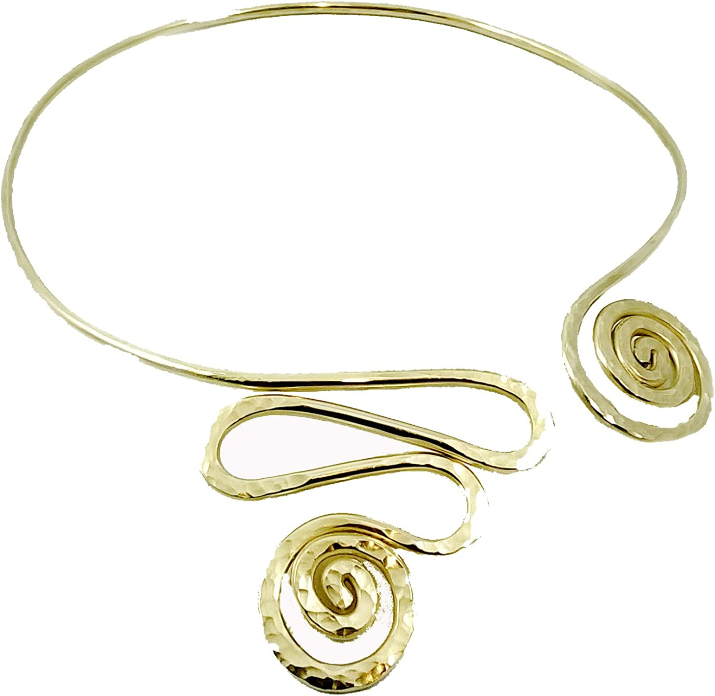 Elaments Design Solid Brass Chakra Collar Necklace Princess Spiral Design Fits Neck Sizes 15-17 Inches