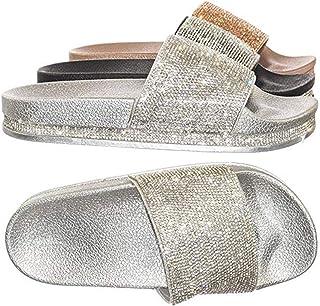 Forever Link 水钻 & 闪粉 Slide In PVC 压模鞋垫厚底凉鞋、拖鞋