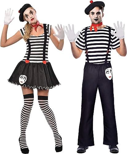 Fancy Me Paare Damen & Herren passende Franz sche Mime Künstler Theatrischer Zirkus Performer Karneval Kostüm Outfits