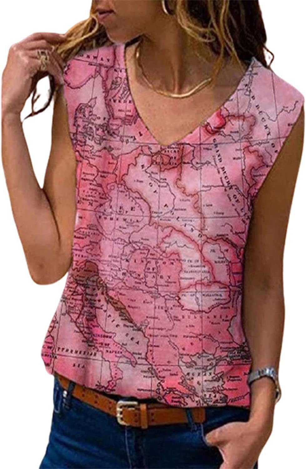 Womens T Shirts Loose Fit Women's V-Neck Printing Map Casual Fashion Vest Summer T-Shirt Tops