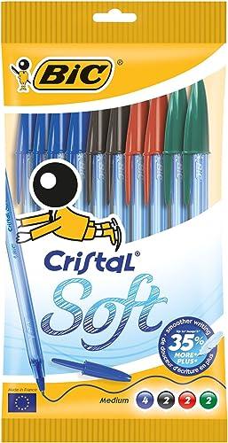 BIC Ecriture Cristal Soft Stylos-Bille Pointe Moyenne (1,2 mm) - Encres Couleurs Assorties, Pochette de 10