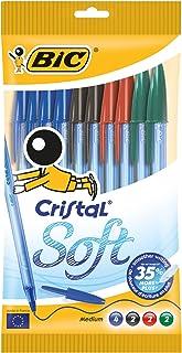 BIC Cristal Soft bolígrafos punta media (1,2 mm) - colores Surtidos, Blíster de 10 unidades