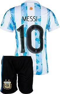Argentinien Messi Trikot Set #10 2021 Heim Kinder Fussball Trikot Mit Shorts