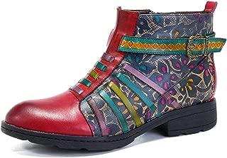 Socofy Leather Ankle Bootie, Women's Vintage Handmade Flat Retro Buckle Pattern