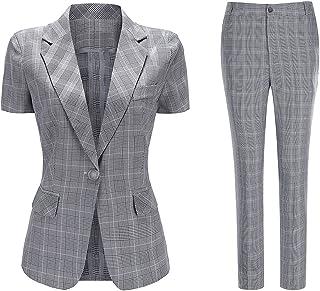Sponsored Ad - Women's 2 Piece Plaid Suit Set Short Sleeve 1 Button Blazer and Business Suit Pants