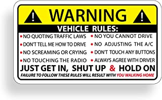 Funny Vehicle Safety Warning Rules Sticker Adhesive Vinyl for Car Truck Window Graphic Bumper