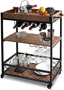 charaHOME Industrial Kitchen Serving Carts Rolling Bar Cart with 3 Tier Storage Shelves Kitchen Island Cart with Wine Glass Holder,Handle Racks,Lockable Caster Liquor Cart Removable Top Box Container