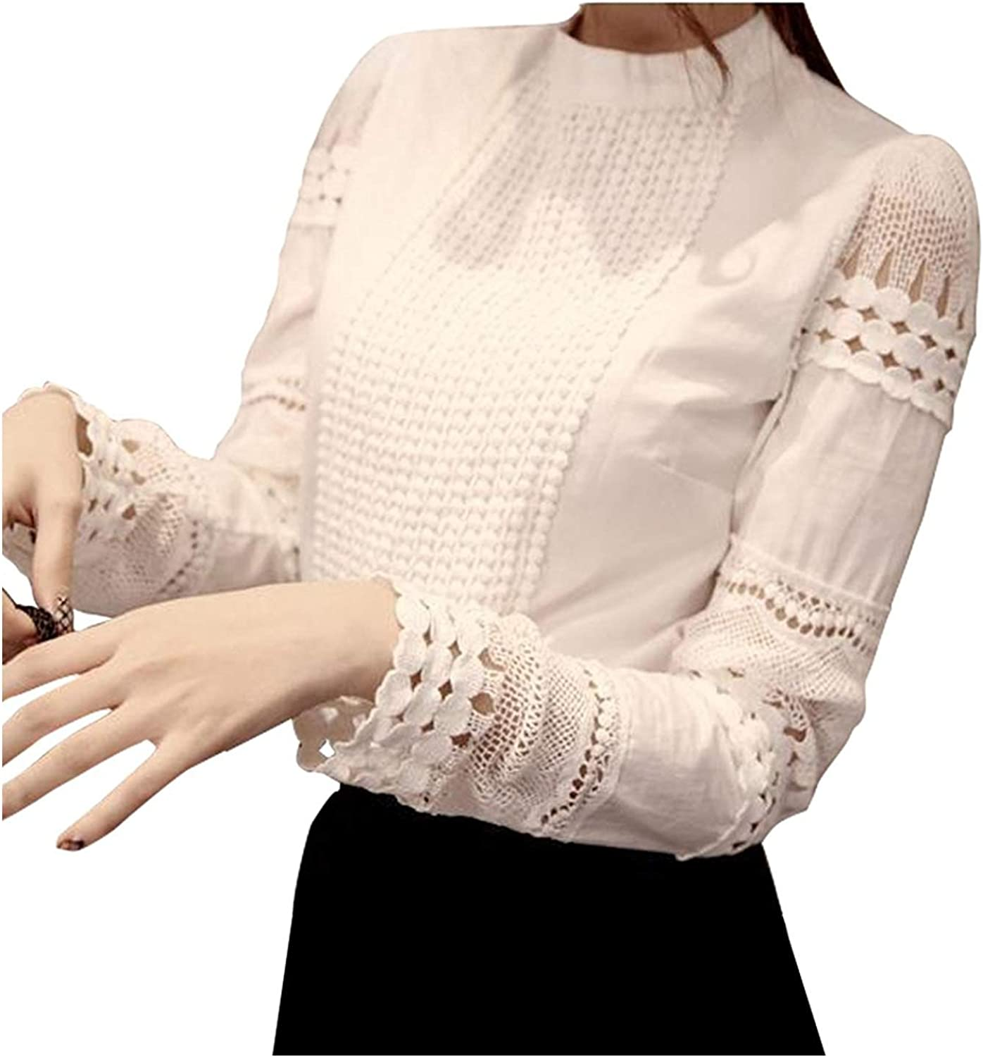 Smile Fish Women Hollow Out Lace Casual WorkLong Sleeve Elegant Blouse