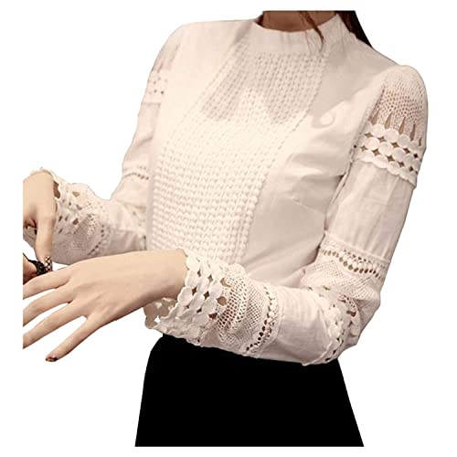 1025e997fcea77 Smile fish Women Hollow Out Back Zipper Lace Long Sleeve Elegant Blouse
