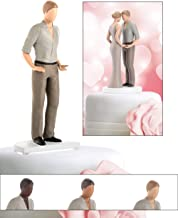 Wedding Cake Toppers for Straight, Gay, Lesbian, Interracial - Bride and Groom Figurines for Cakes - Decorations for Anniversary, Bridal Shower, Engagement (Light Tone Male)