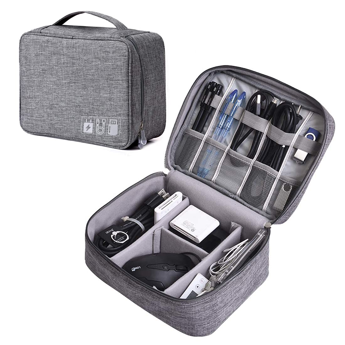 Electronic Organizer Travel Universal Cable Organizer Electronics Accessories Storage Bag Gadget Gear Cases for iPad Mini, Kindle, Smartphone, Cable, Charger, Power Bank, USB, SD Card (Grey)