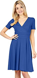 Long and Short Sleeve Crossover Faux Wrap Dresses for Women Reg and Plus Size Skater Swing Dress - Made in USA