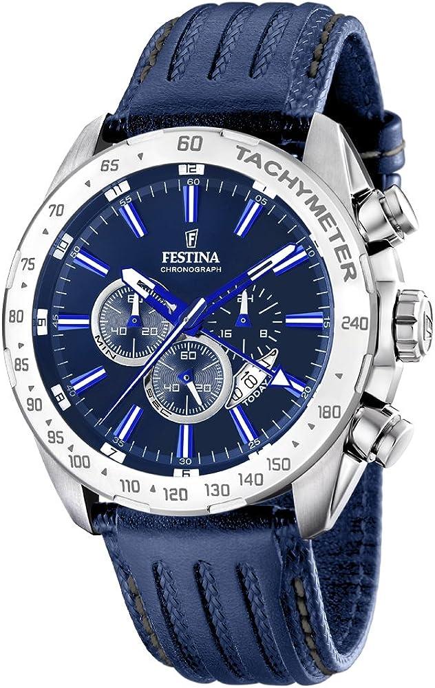 Festina orologio cronografo da uomo con cassa in acciaio inossidabile cinturino in vera pelle F16489/B