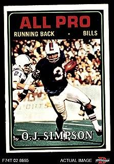 1974 Topps # 130 All-Pro O.J. Simpson Buffalo Bills (Football Card) Dean's Cards 6 - EX/MT Bills