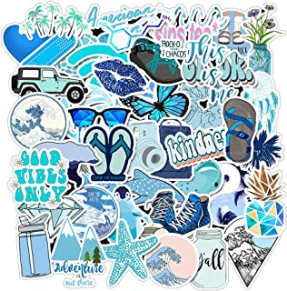 Cute Girl Blue Laptop Stickers 50pcs, Lovely Trendy Kids/Teen Vinyl Computer Waterproof Water Bottles Skateboard Luggage Decal Graffiti Patches Decal