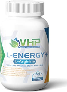 L-Energy+; Best L Arginine Supplement Pills with Zinc, Vitamin B-12, and Folic Acid; 60 Veg Caps; Pre Workout N.O. Booster...