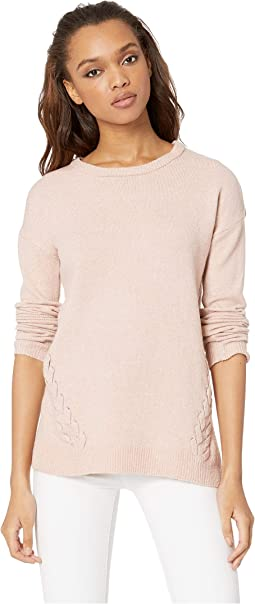 Scoop Neck Drop Shoulder Long Sleeve Sweater w/ Lace-Up Sides