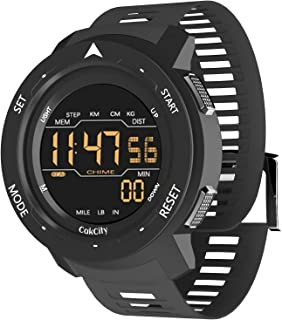 Super Light Digital Sports Watches for Men with Pedometer, Counting Calories, Alarm, Black, Waterproof, Model: Mars