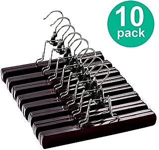 HOUSE DAY Wooden Pants Hangers 10 Pack Non Slip Wood Skirt Hangers Wood Jeans/Slack Hanger with 360° Swivel Hook - Pants Clip Hangers for Skirts, Slacks - Clamp Hangers