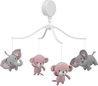 Bedtime Originals Twinkle Toes Monkey Elephant Musical Mobile, Pink/Gray
