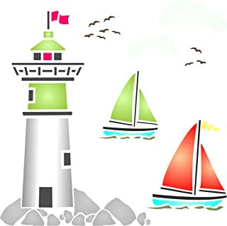 Lighthouse Stencil - 4.5 x 4.5 inch (S) - Reusable Sea Ocean Nautical Sailboat Clouds Wall Stencil Template - Use on Paper Projects Scrapbook Journal Walls Floors Fabric Furniture Glass Wood etc.