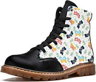 LORVIES Papillons Vintage Bottes d'hiver Chaussures Montantes en Toile à Lacets pour Hommes